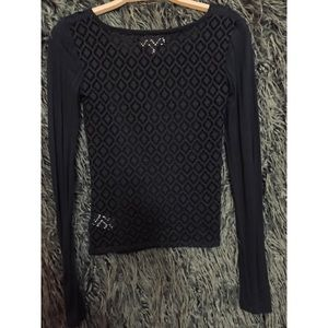 Aeropostale long sleeve lace black top
